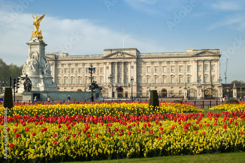 Spring flowers in front of Buckingham Palace Fototapet