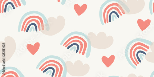 Childish seamless pattern with rainbows, hearts