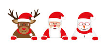 Cute Reindeer Santa And Snowman Cartoon With Glasses White Banner Vector Illustration EPS10
