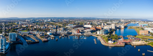 Obraz Aerial view of Cardiff Bay, the Capital of Wales, UK 2019 on a clear sky summer day - fototapety do salonu