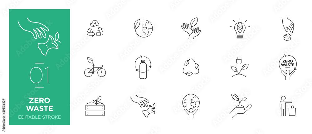 Fototapeta Set of Zero waste line icons - Modern icons
