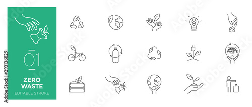 Fototapeta  Set of Zero waste line icons - Modern icons