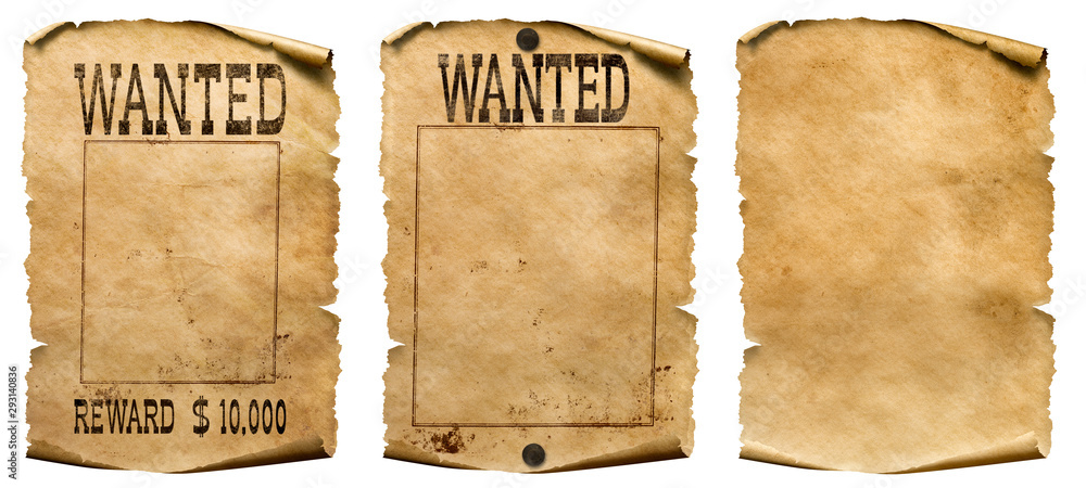Fototapeta Wild west wanted posters set isolated on white