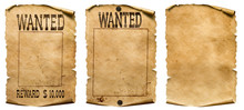 Wild West Wanted Posters Set Isolated On White