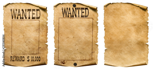 plakat Wild west wanted posters set isolated on white