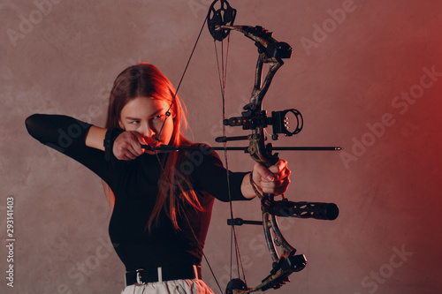 Canvas Archer woman with modern block sport olympic bow and arrow