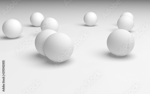 White abstract background. Set of white balls isolated on white backdrop. 3D illustration