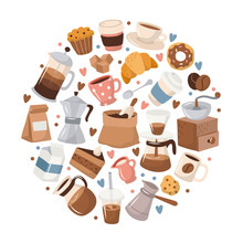 Coffee Elements In Circular Frame. Cute Cartoon Icons In Hand Drawn Style. Vector Illustration