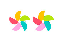 The Pinwheel Logo Flat Design Vector Illustrations. Isolated On A White Background.