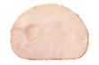 canvas print picture - A single slice of chicken ham isolated on white. Top view.