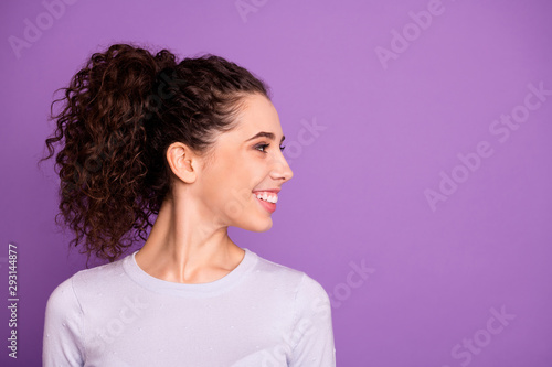 Fototapeta Close-up profile side view portrait of her she nice attractive cheerful cheery g