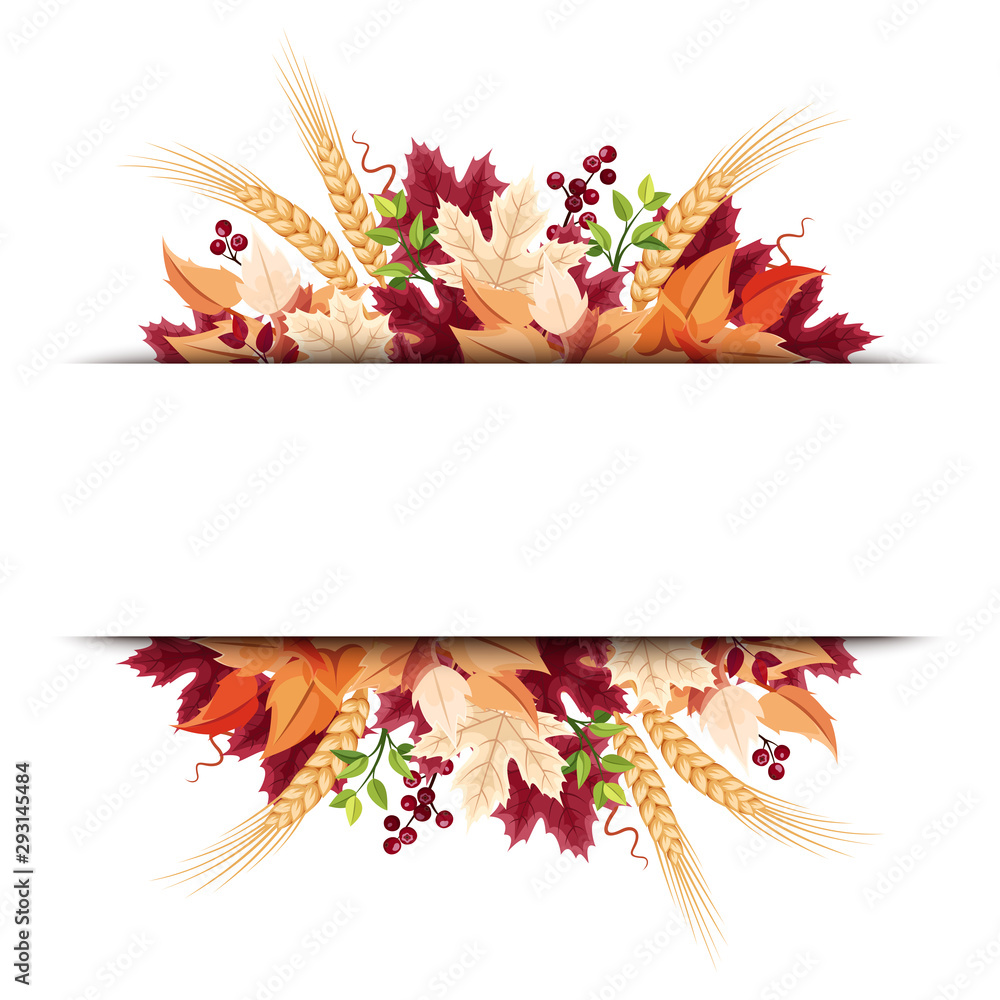Fototapety, obrazy: Vector background banner with orange, purple and beige autumn leaves.