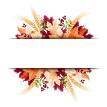 Vector Background Banner With Orange, Purple And Beige Autumn Leaves.
