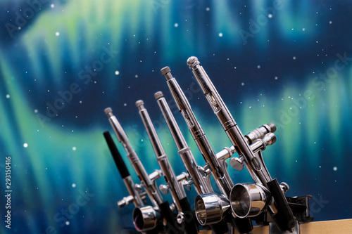 a lot of airbrushes to paint art and customize all kinds of materials Canvas Print