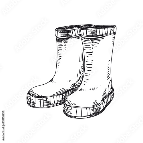 Fotomural  Rubber boots hand drawn vector illustration