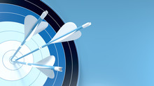 Three Blue Arrows Hit The Center Of An Archery Target, Isolated On Blue Background 3D Rendering. Illustration For Corporate Strategy, Increase Business Performance And Reach Its Goal.