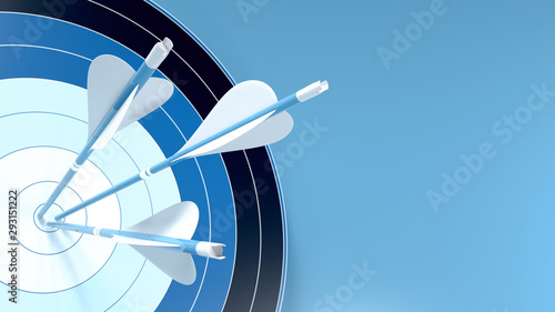 Photo Three blue arrows hit the center of an archery target, isolated on blue background 3D rendering