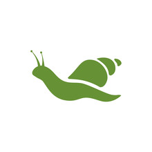 Beautiful Green Snail Logo On White Background