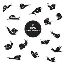 Set Of 16 Black Snail Silhouet...