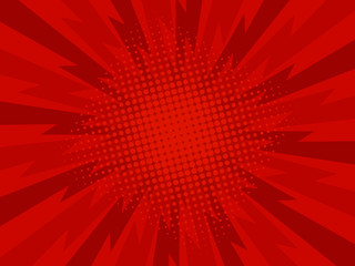 Retro comic rays red dots background. Focus. Vector illustration in pop art retro style
