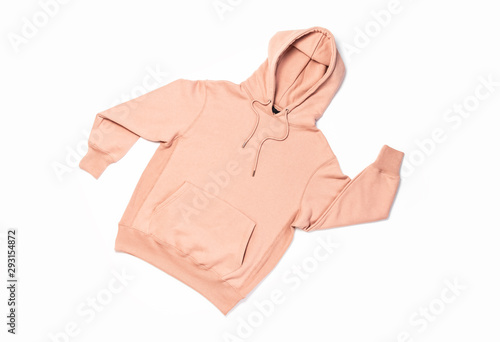 Female peach pink sweatshirt with pocket and hood isolated on white background фототапет