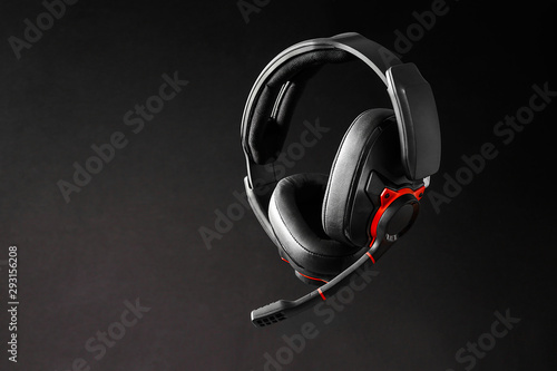 Beautiful  gaming headphones on background - 293156208