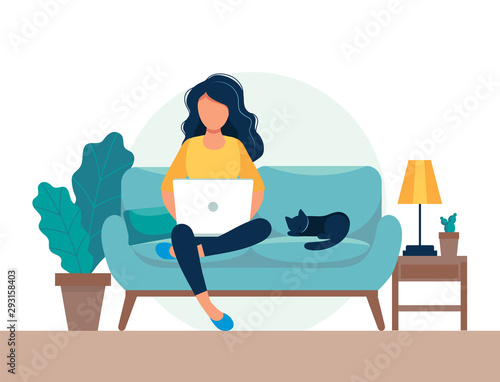 Obraz girl with laptop sitting on the chair. Freelance or studying concept. Cute illustration in flat style. - fototapety do salonu