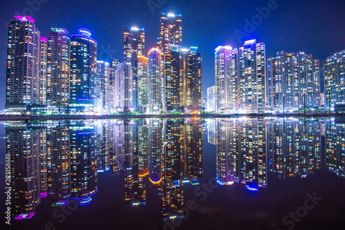 Fotografia busan city at night south korea