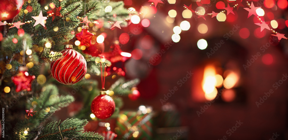 Fototapeta Christmas Tree with Red Balls and Stars
