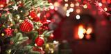 Fototapeta Kawa jest smaczna - Christmas Tree with Red Balls and Stars