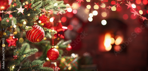 Christmas Tree with Red Balls and Stars - 293159002