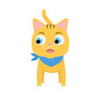 Funny happy red cat on white background. Little smiling kitten with scarf. Vector flat illustration for print.