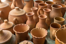 Brown Clay Pots Made In Ground...