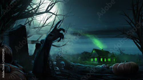 Door stickers Green blue Zombie Hand Rising Out Of A Grave. Halloween background with zombies