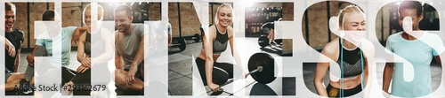 Collage of a smiling woman and friends at the gym - 293162679