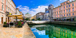 canvas print picture - Landmarks and beautiful places (cities) of northern Italy - elegant Trieste with charming streets and canals