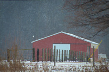 Red Barn With Fence And Snow C...