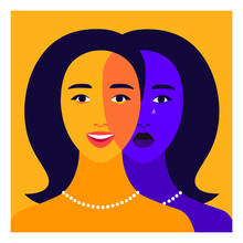 Portrait Of A Young Woman With Bipolar Disorder. Happy And Depressed Faces. Mental Health. Bright Vector Flat Illustration