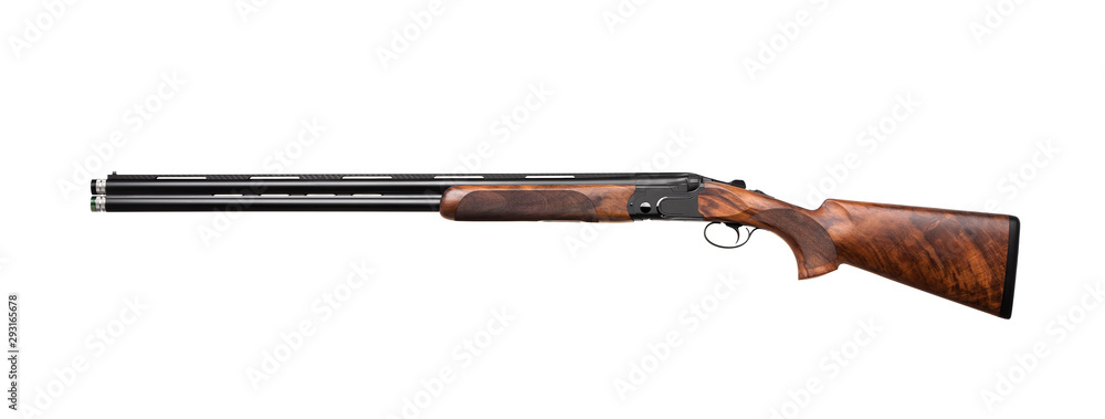 Fototapeta Hunting double-barrelled gun on a white background.  Double Shotgun isolated on  white back.