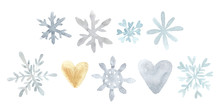 Watercolor Snowflake Isolated On White Background. Symbol Of Winter.