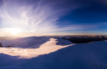 Fototapeta na wymiar Fabulous panorama with snow-capped mountains