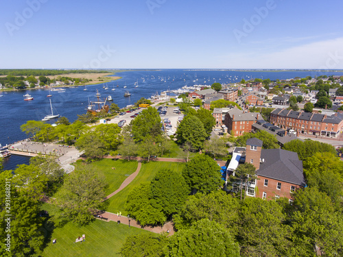 Newburyport historic downtown including Merrimack Street and Waterfront Promenade Park with Merrimack River at the background aerial view, Newburyport, Massachusetts, MA, USA Canvas Print