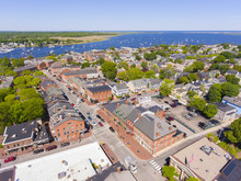 Newburyport Historic Downtown Including State Street And Market Square With Merrimack River At The Background Aerial View, Newburyport, Massachusetts, MA, USA.
