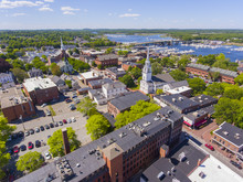 Newburyport Historic Downtown Including State Street And First Religious Society Unitarian Universalist Church With Merrimack River At The Background Aerial View, Newburyport, Massachusetts, MA, USA.