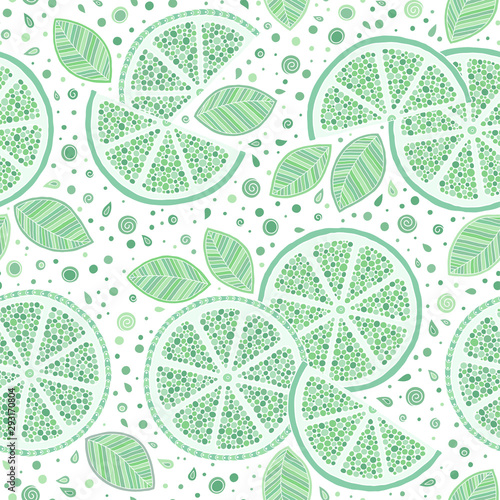 Lime with green leaves, slice citrus white background. - 293170804