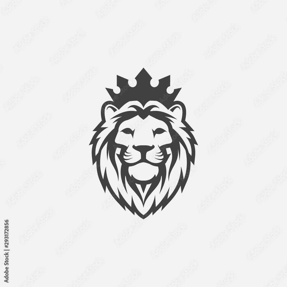 Fototapeta lion luxury logo icon template, elegant lion logo design illustration, lion head with crown logo, lion elegant symbol