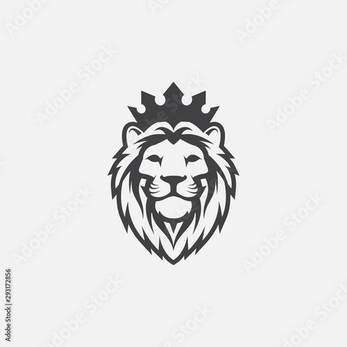 lion luxury logo icon template, elegant lion logo design illustration, lion head with crown logo, lion elegant symbol