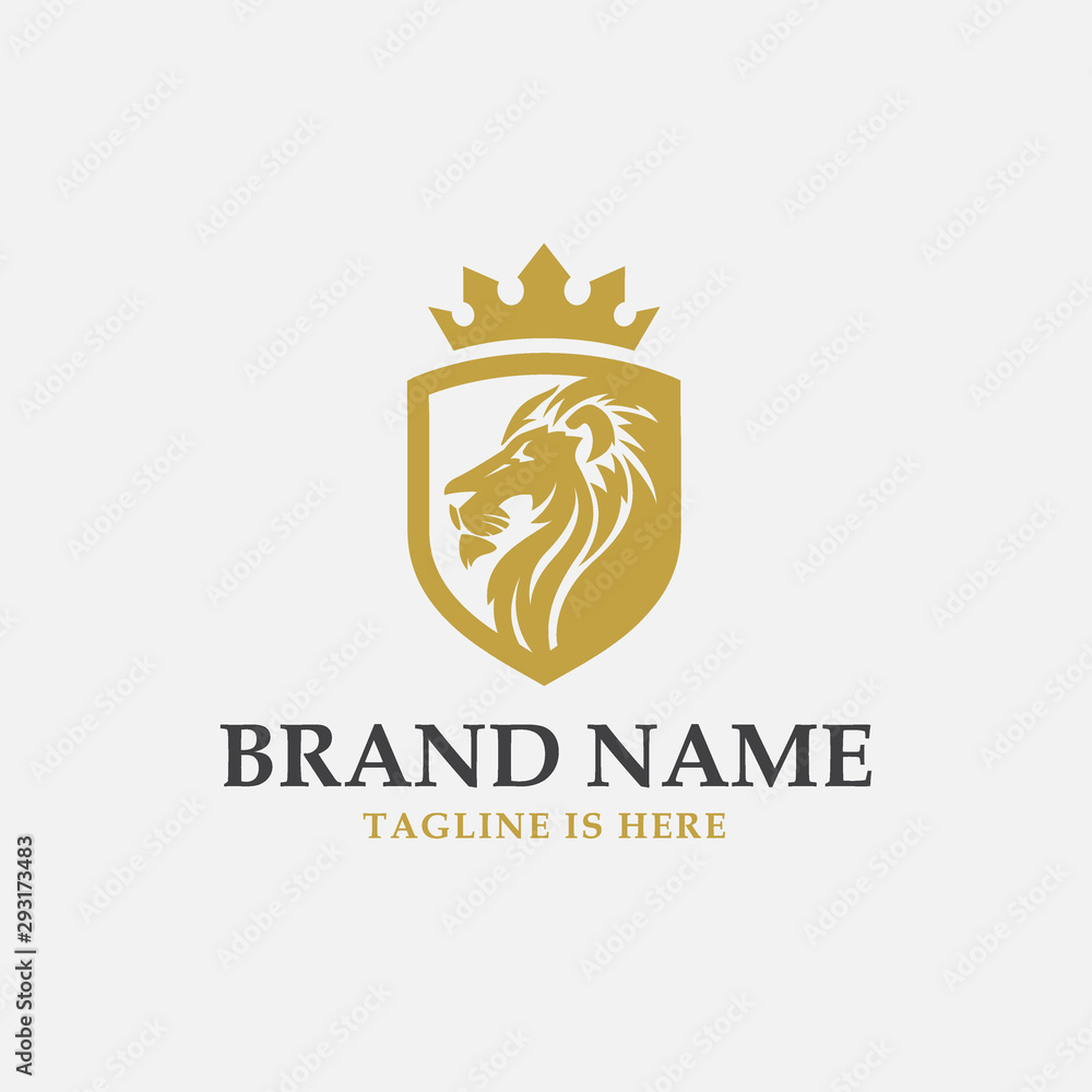 Fototapeta lion shield luxury logo icon, elegant lion shield logo design illustration, lion head with crown logo, lion shield symbol