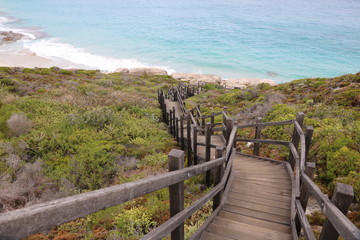 Fototapeta na wymiar Way to Cable Beach at Torndirrup National Park, Albany Australia,