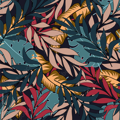 Deurstickers Paradijsvogel Botanical seamless tropical pattern with bright red and blue leaves and plants on a light background. Seamless pattern with colorful leaves and plants. Tropic leaves in bright colors.